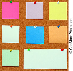 Bulletin board. Color pins with color papers