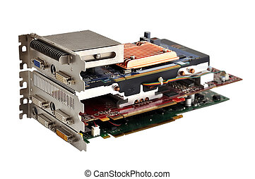 Computer graphic cards - three computer graphic card on...