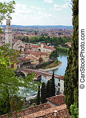 Panoramic view of Verona, Italy (are visible the Old Bridge...