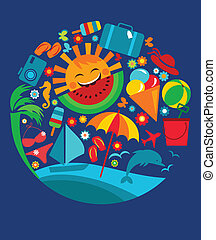 template of summer icons on blue