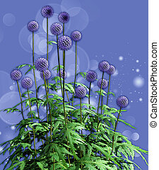 Globe Thistles - A decorative illustration of some globe...