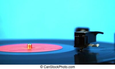 Close up of turntable needle - Vinyl record played on...