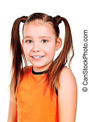 modest - Portrait of a 8 year girl. Isolated over white...