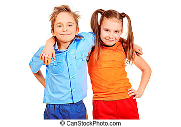 kind friends - Portrait og two cheerful children. Isolated...