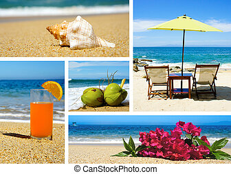 Vaction Collage - Tropical beach landscape collage with five...