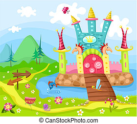 castle - vector illustration of a cute castle