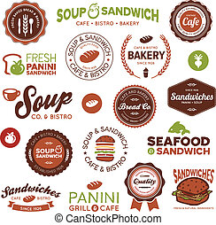 Sandwich bistro labels - Set of vintage and modern sandwich...