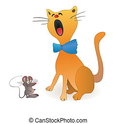 Funny cat and little mouse sitting near