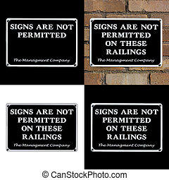 Set of 4 Signs No Permitted