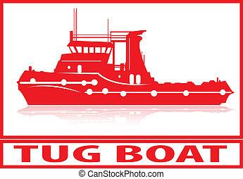 Tug boat - Tug boat in red silhouette