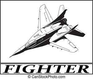 Fighter aircraft. - Outline of a military fighter aircraft.