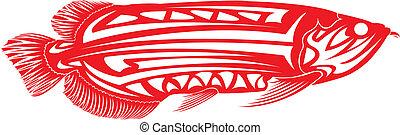Tribal arts - Fish tribal arts Arowana