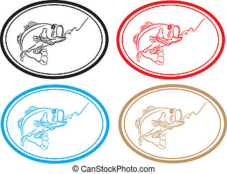 Fishing. - Clear lure fishing icon stamped in different...