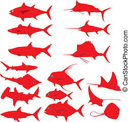 Fishes - Various sea water fishes in red silhouettes