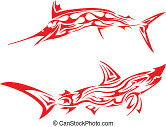 Tribal arts - tribal tattoo image of a marlin fish and shark...