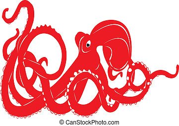Octupus. - An octopus in red silhouette.