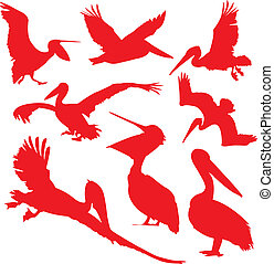 Pelican. - Pelican in red silhouettes.