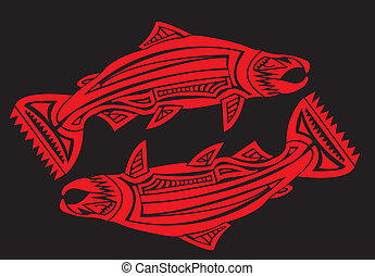 Tribal arts. - Salmon fish in tribal arts.