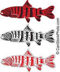 Tribal arts - Salmon fish in tribal arts