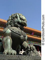 An imperial guardian lion the Forbidden City in Beijing - A...