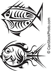 Tribal arts - A pair of tribal art fishes