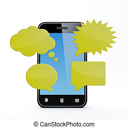 smartphone with speech bubbles - Smartphone with speech...