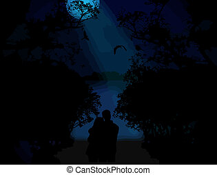 Lovers on blue sunset