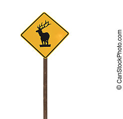Tall Isolated Elk Caution Sign on a Wood Post