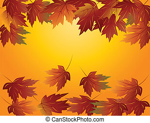 Maple Leaves in Fall Illustration - Maple Tree Leaves...