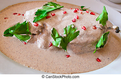 Chile en Nogada Mexican dish made of peppers in a nut-milk...