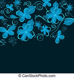 Abstract blue floral design