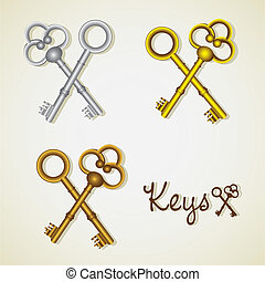 set of old keys gold and silver, vector illustration