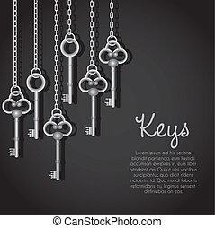 old silver keys hanging string