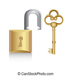 old golden key with gold lock isolated on white background