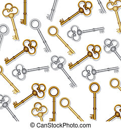 pattern of old keys gold and silver on white background