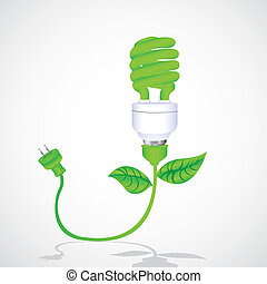 eco bulb with cable, leaf and plug isolated on white...
