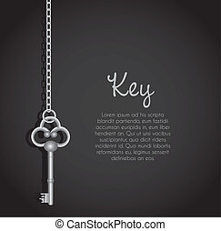 old keys with link chain black background with text