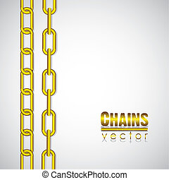 gold link chain, vector illustration