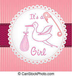 label baby shower background of green lines, is a girl