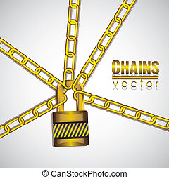 gold chains with a padlock