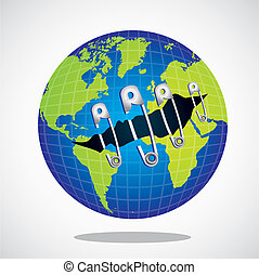 restoring the planet - world with safety pins, vector...