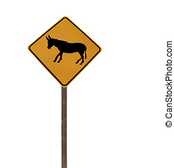 Tall Isolated Jackass and Burro Caution Sign on a Wood Post