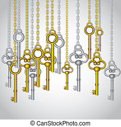 old keys hanging from gold and silver link chain