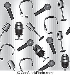 pattern of headphones and microphones