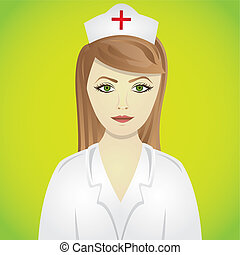 nurse in green - nurse isolated on green background, vector...