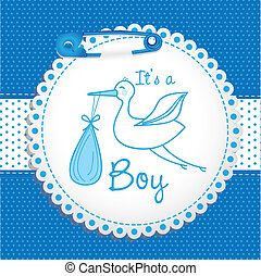 Baby arrival label, vector illustration