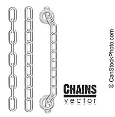 set of silver link chains, vector illustration