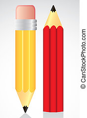 yellow and red pencil