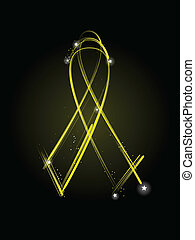 Yellow veterans ribbon - Yellow ribbon made of light streaks...
