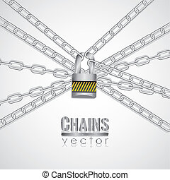 Silver chains attached by a padlock